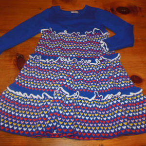 HANNA ANDERSSON 130 Blue Hearts Knit Dress
